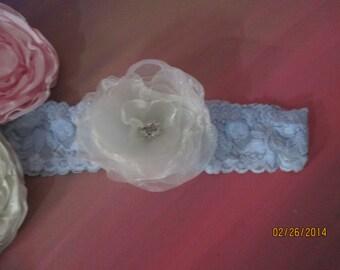 "Something Blue  Wedding Garter  2"" Stretch lace with handmade flower  Bridal Garter"