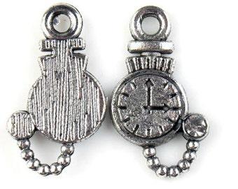 Mini Pocket Watch Charm Lot of 10 Rhinestone