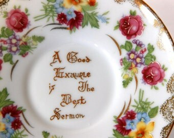 Floral Plate - A Good Example Is The Best Sermon - Benjamin Franklin Quote