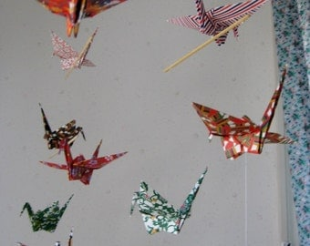 """12 Large Heavy Washi Chiyogami Cranes Mobile - folded from 6"""" (15 cm) Heavy Washi Chiyogami Paper, Home Decor, Room Decor、Handmade"""