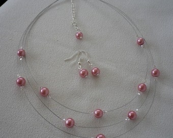 SALE Dusty Pink Floating Pearl and Crystal Necklace and Earrings