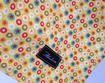 Riley Blake Boy Crazy Flannel Stars Yellow Baby Blanket Flannel Swaddler