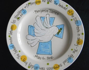 Personalized Baptism Plate with Dove and Cross - Hand Painted Baby Plate - Great Baptism, Christening, Shower or Birth Gift