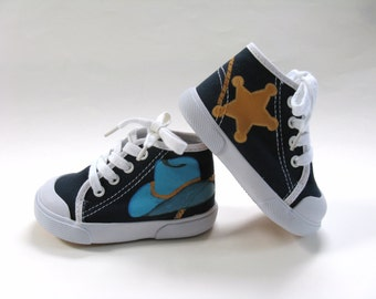 Cowboy Shoes, Western Theme Party, Sheriff Sneakers, Hand Painted Navy Blue Hi Top, Cowgirl or Cowboy Hat, Baby or Toddler