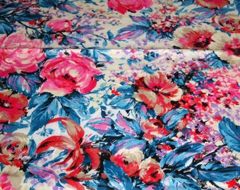 """vintage 80s cotton fabric, featuring lovely stylized floral print, 46"""" x 34"""""""