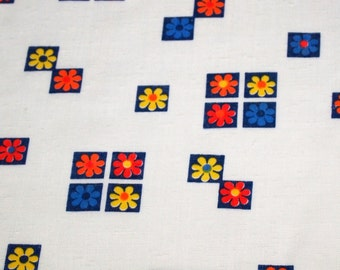 SALE vintage 70s cotton novelty fabric featuring geometric and floral print, 1 yard, 7 available priced PER YARD