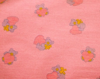 vintage 50s flannelette fabric, featuring teddy bea and heart motif, 1 yard, 5 available priced PER YARD