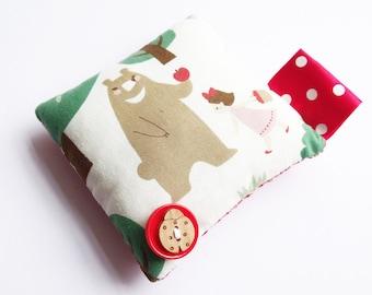 Pincushion, bear, apple, woodland, fairy tale, folk, funky, red, button, fabric, ladybird, bear,  pin cushion, handmade