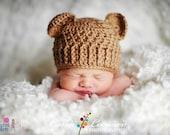 Teddy Bear Hat - golden brown - Handmade Photography Prop