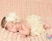 Ruffle Skirt and Headband Set - cream - Newborn Photo Prop - newborn skirt, newborn headband, newborn set, ruffle skirt set