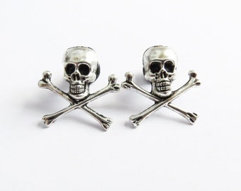 4g 2g (5mm-6mm) / Skull and Crossbones / Plugs Gauges Stretchers Earrings / Stretched Gauged Ears