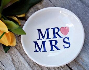 Mr and Mrs - Jewelry Dish - Wedding Ring Dish - Ring Dish - Gift Dish - Ring Bowl - Jewelry Bowl - Wedding Gift - Wedding Ring Holder