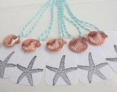 TEN Seashells and Starfish Tag Set