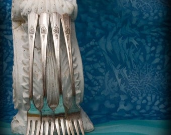 Desire Silverplate Cocktail Seafood Forks (set of 4)  ca 1940 s