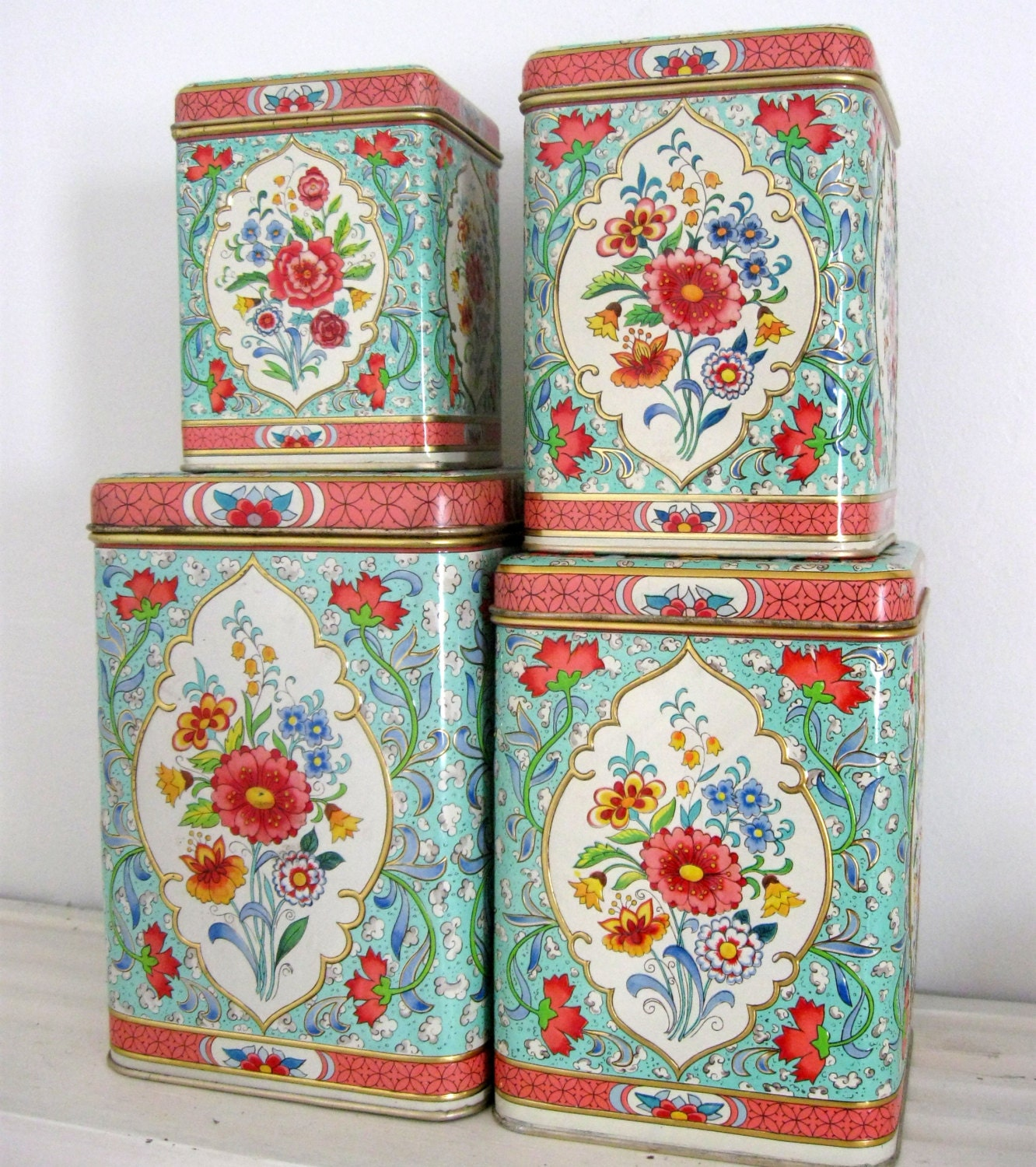 daher holland vintage canister set floral chic set of 4 tin