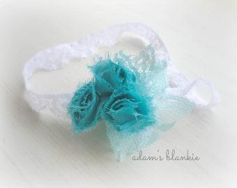 Winter Wonderland - Turquoise Aqua Rosette Headband - White Blue Lace - Girls Newborns Baby Infant Adults - Photo Prop
