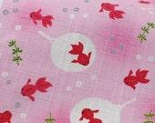 3552 - Japanese Goldfish Flan Slubbed Cotton Fabric - 43 Inch (Width) x 1/2 Yard (Length)