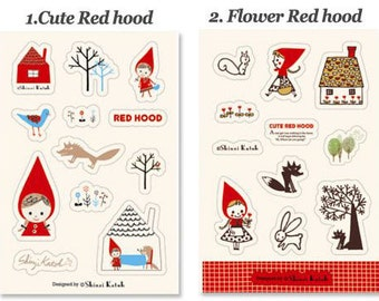 Set of 2 Sheets Red Hood Leather Stickers (P186)