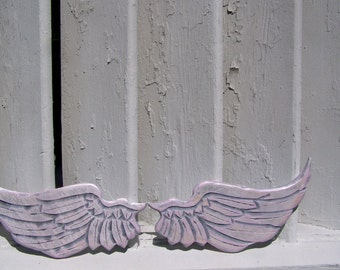 Baby Angel Wings Distressed Grey, White and Baby Pink with Pearl Sheen Sweet Cherub Wings Wall Hanging