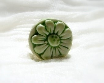 Blooming Green Ring,  Flower Adjustable Ring, Flower Jewelry