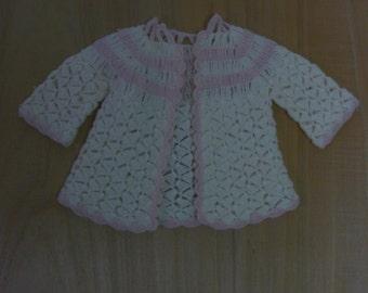 Tiny Vintage crochet Ecru Baby Sweater