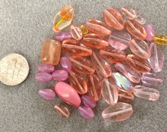 Pinks and oranges glass beads C2