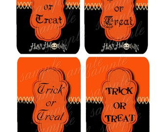 Instant Download - Trick or Treat Tags -  Digital Download - Printable  Digital Collage Sheet - Halloween