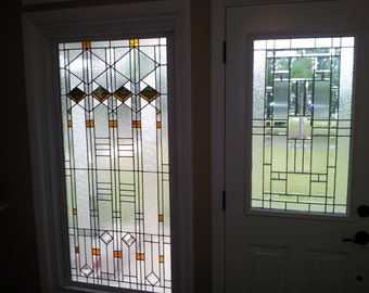"Stained glass Window - ""Elegant Arts and Crafts style"" (W-61)"