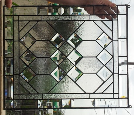 Stained Glass Window Geometric Elegance By TerrazaStainedGlass
