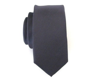 Mens Tie Charcoal Gray Skinny Necktie With Matching Pocket Square Option