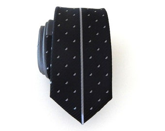 Skinny Tie. Mens Tie. Black and Gray Vertical Stripe Skinny Men's Necktie
