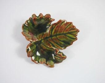 Porcelain Autumn Leaf Brooch 70s Vintage Jewelry