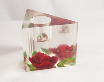 Vintage 60s Lucite Reverse Carved Lipstick Holder With Rose Birchcraft Sovenir