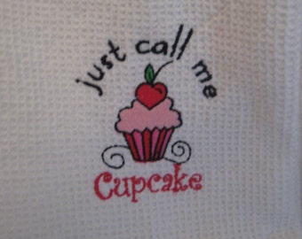 Waffle Weave Kitchen Towel with Cupcake