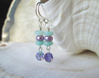 Mint Green and Purple Lavender Dangling Earrings - Tanzanite Crystals and Amazonite and Freshwater pearls