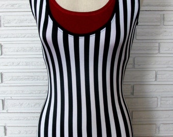 Vertical Stripe Circus Costume, Shortie Unitard, Striped Leotard, Strongman Costume, XXS - L
