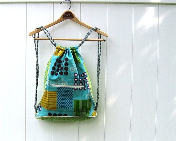 Cinch Backpack in Turquoise Bicycles Linen Fabric for Back to School Trend Ready to Ship