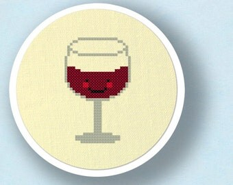 Glass of Wine. Modern Simple Cute Cross Stitch PDF Pattern. Instant Download