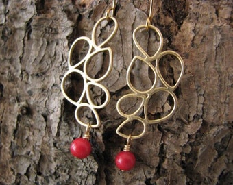 Earrings gold plated with coral red