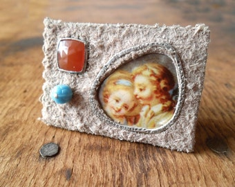 Young Lovers. Brooch. Handmade, mixed media.