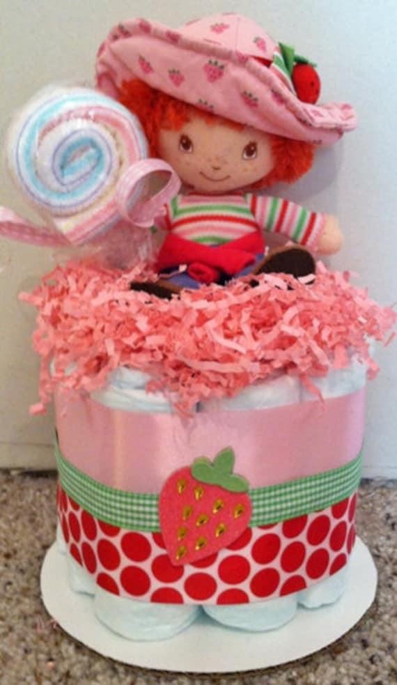 girls strawberry shortcake baby diaper cake shower centerpiece gift