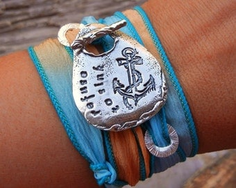 Inspirational Gift Idea for Women, Inspirational Quote Jewelry, I Refuse to Sink Inspirational Silk Wrap Bracelet Gift, STERLING Silver Gift