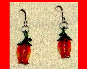 Red Glass Flowers and Stems Dangle Earrings
