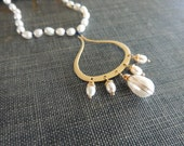 RESERVED Hand Knotted Freshwater Pearl Gold Plated Pendant Necklace Bridal Anniversary Special Occasion
