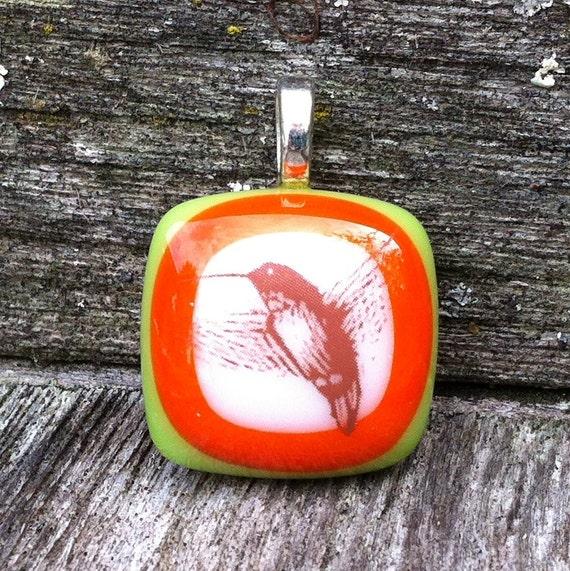 SALE Hummingbird Fused Glass Pendant - Hummingbird Jewelry
