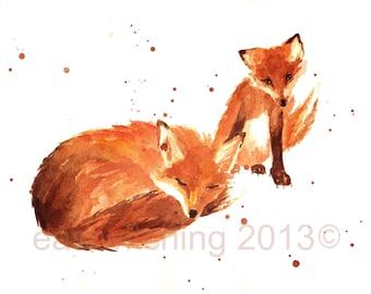 FOX Print, 5x7 print, fox, cute fox art, woodland creature prints