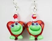 Turtle Heart Lampwork Bead Earrings - red green