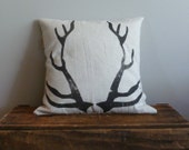 Woodland Throw Pillow Rustic Christmas Holiday Decor Antlers Deer...Made to Order...Pillow Insert Sold Separately