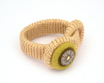 Crochet felted bracelet with button Valentine's gift for her boho bangle wrist cuff wheat olive felt wool handmade gift for her Mother's day