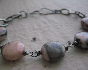 Zebra Jasper & Sterling Silver- Gemstone, Wire Wrapped, Oxidized, Oval Link Chain, Rustic